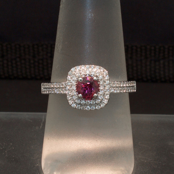14K White Gold Grape Garnet and Diamond Ring