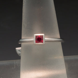 Handmade 14K White Gold Ruby Ring