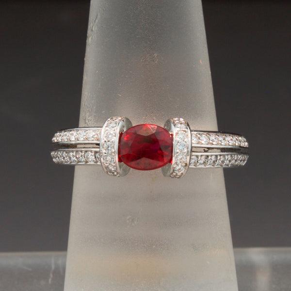 Unique 18K White Gold Ruby and Diamond Ring