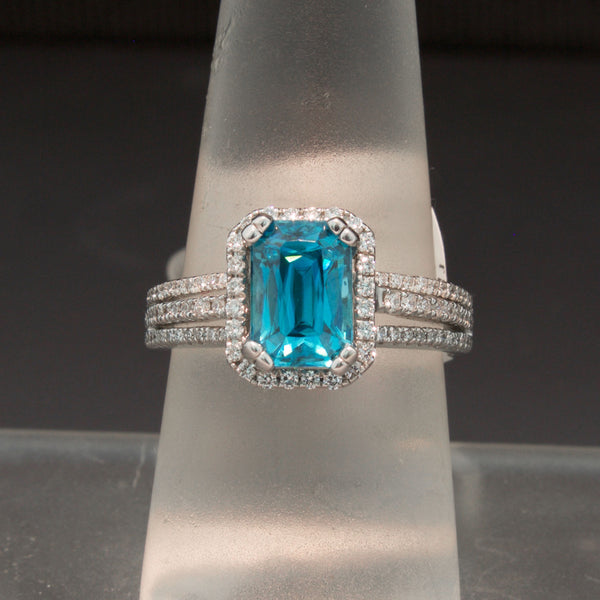 14K White Gold Blue Zircon and Diamond Ring