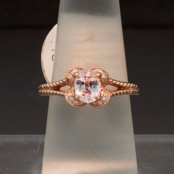 14K Rose Gold Peach Sapphire and Diamond Ring