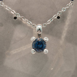 14K White Gold Gray Spinel and Diamond Pendant