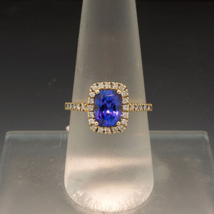 14K Yellow Gold Tanzanite and Diamond Halo Ring