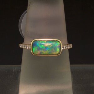 Handmade 14K Yellow Gold Opal and Diamond Ring