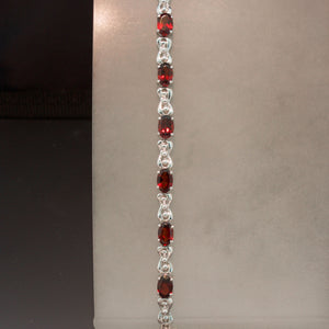 14K White Gold Red Garnet Bracelet