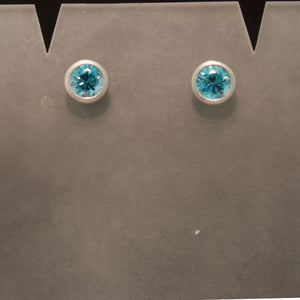 Handmade 18K White Gold Blue Zircon Earrings