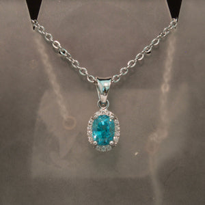 14K White Gold Blue Zircon and Diamond Pendant