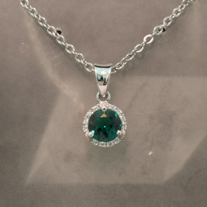 14K White Gold Green Tourmaline and Diamond Pendant