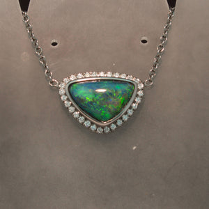 14K White Gold Black Opal and Diamond Necklace