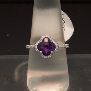 Clover Shaped 14K White Gold Amethyst and Diamond Ring