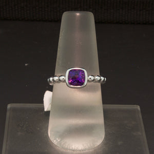 14K White Gold Amethyst Bead Ring