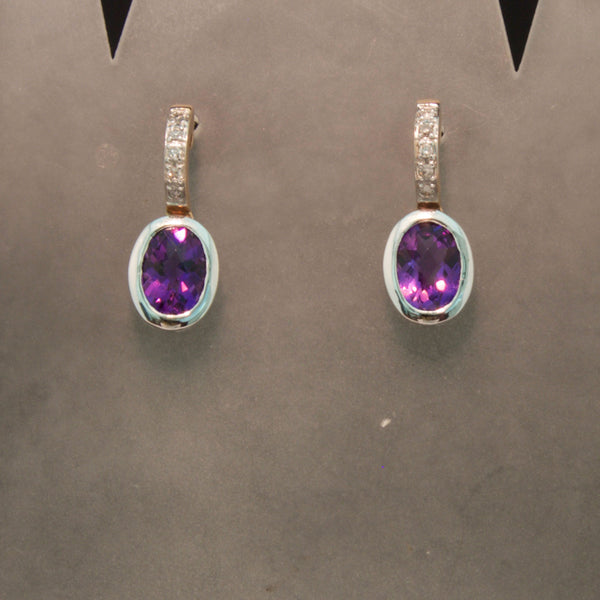 14K White and Rose Gold Amethyst and Diamond Earrings