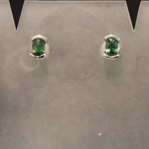 14K White Gold Teal Sapphire Stud Earrings