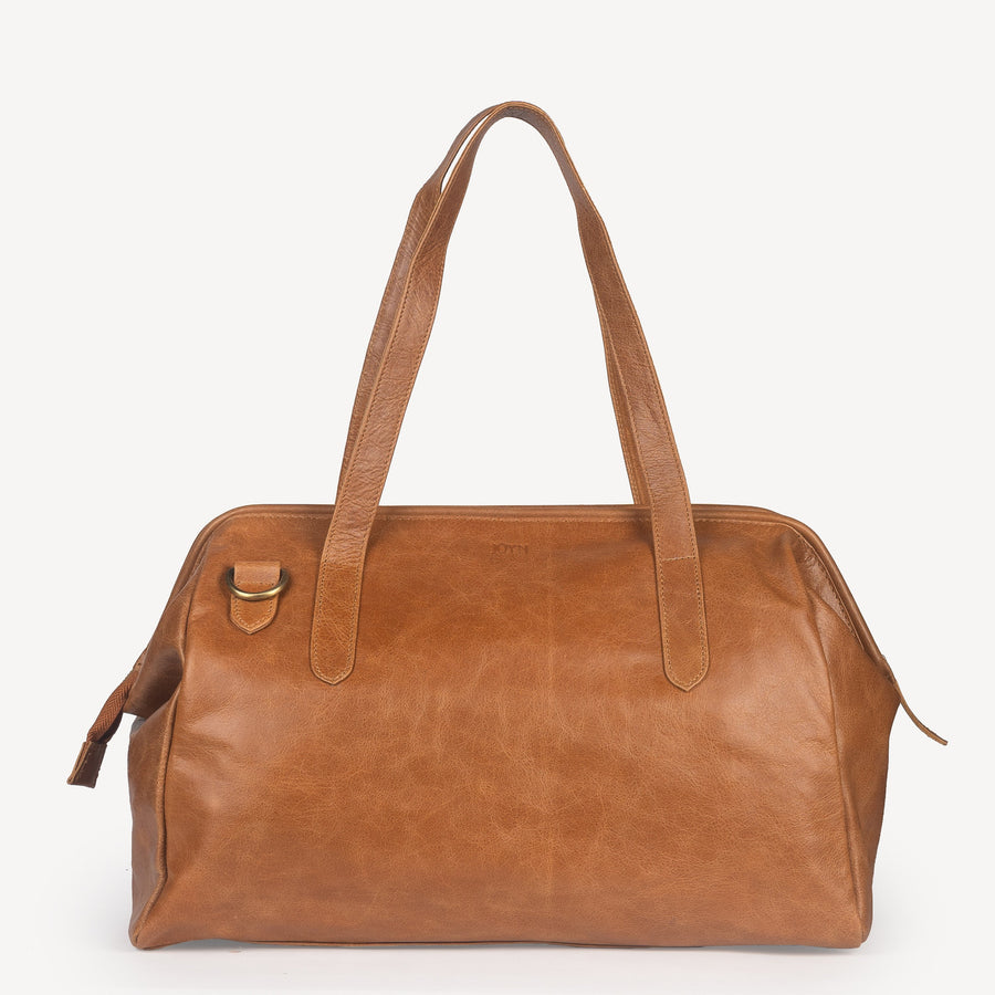 Leather 3-in-1 Weekender in Camel Leather