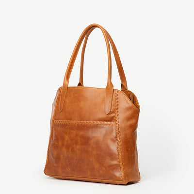 Adhya Japanese Garden Camel Leather Tote