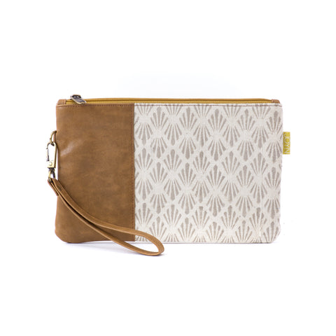 Vegan Clutch - Khaki Fern
