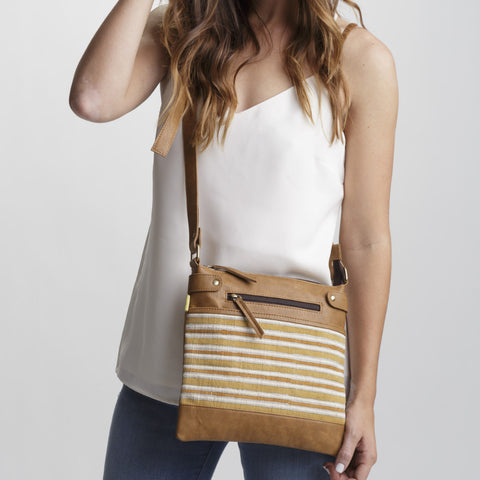 Nyma Mustard Stripes Square Satchel