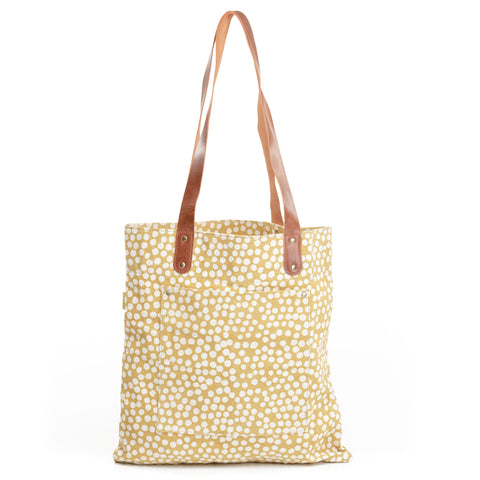 Vanya Mustard Dots Canvas Tote