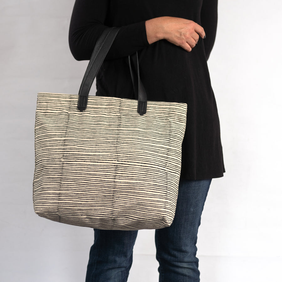 Chaaya Tote in Black Pinstripe