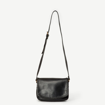 Diti Black Leather Crossbody