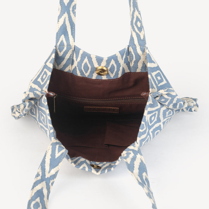 Frilly Tote - Blue Ikat