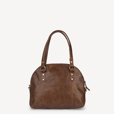 Half Moon Handbag in Dark Brown Leather