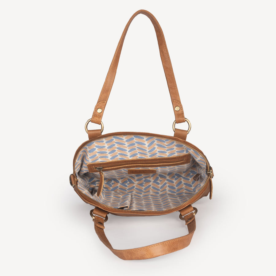 Half Moon Handbag in Camel Leather