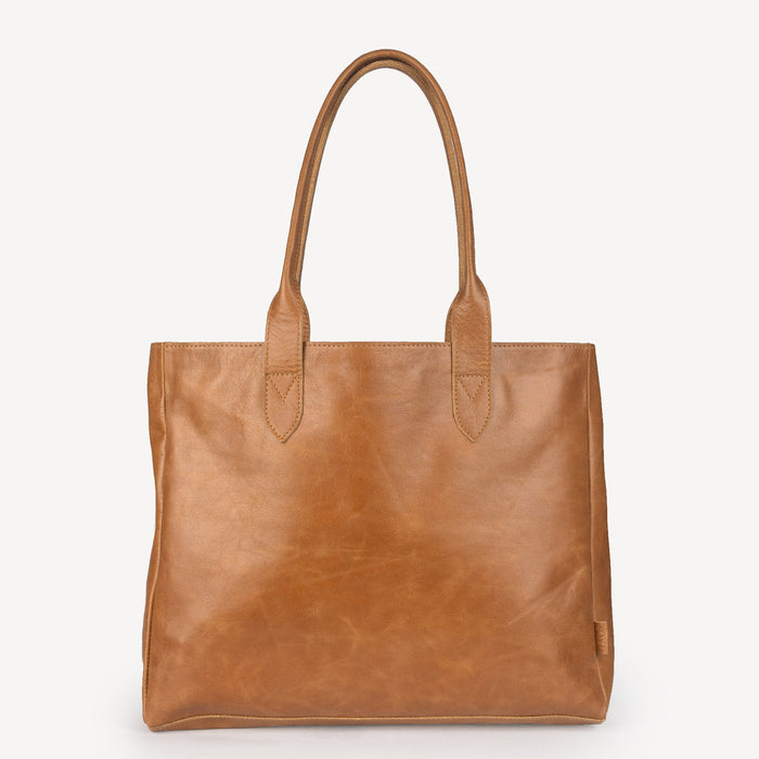 Simple Leather Tote - Camel