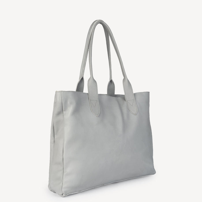 Simple Leather Tote - Grey