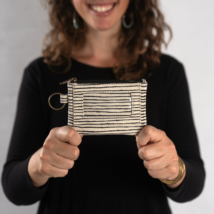 ID Pouch in Black Pinstripe