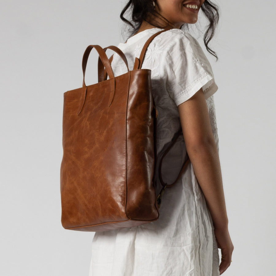 Tote Pack in Brown Leather