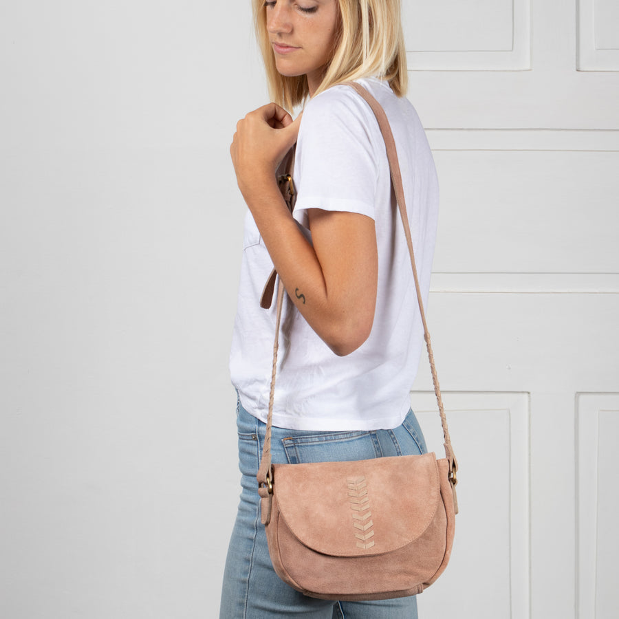 Alisha Blush Suede Crossbody