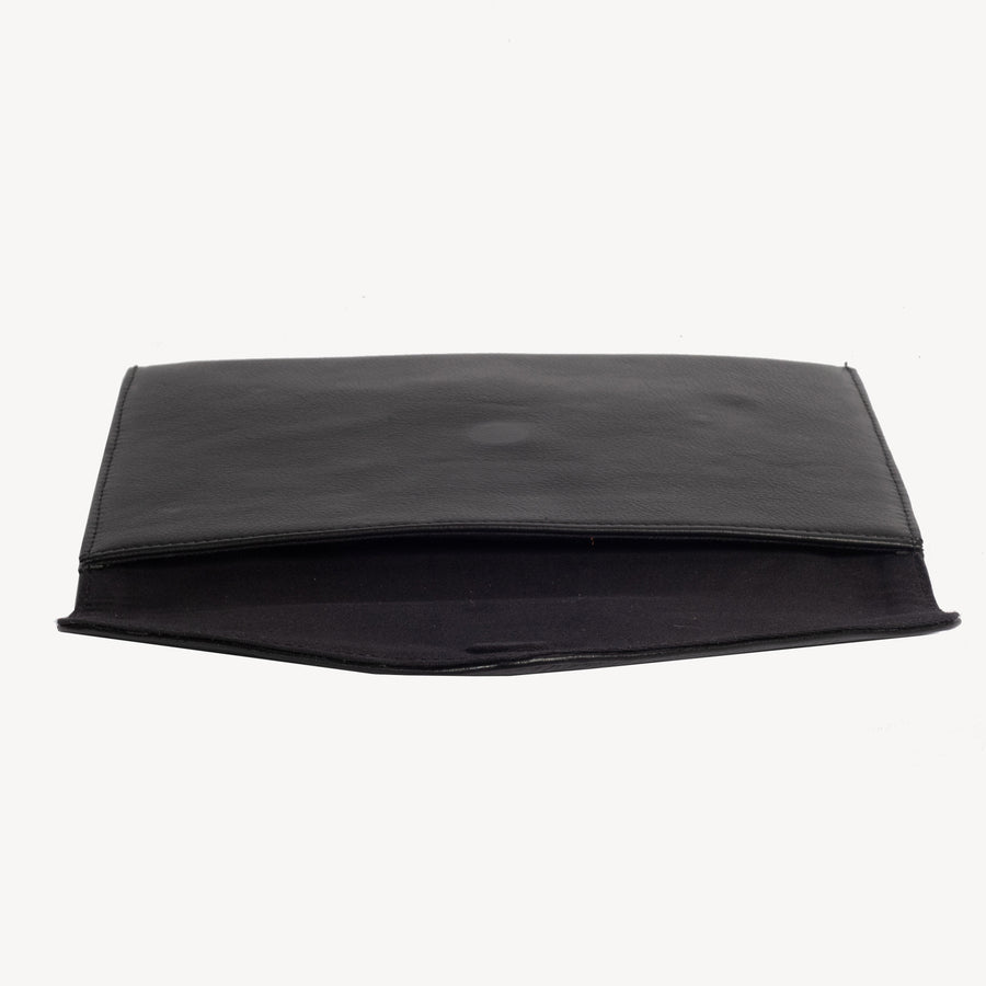 Kamala Black Leather Clutch
