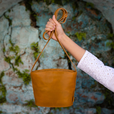 Kavita Mustard Leather Crossbody