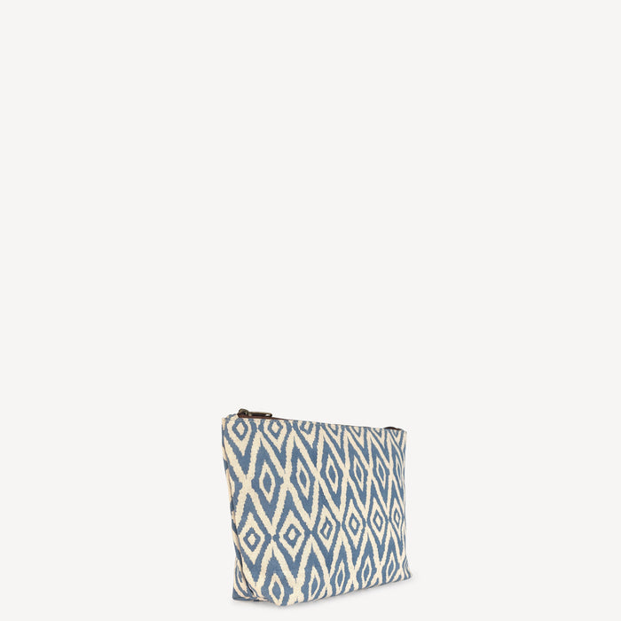 Large Waterproof Pouch - Blue Ikat