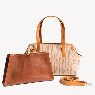Three-in-one Mini Weekender in Camel Leather
