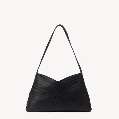 Crisscross Shoulder Bag in Black Leather