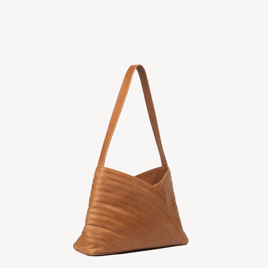 Crisscross Shoulder Bag in Camel Leather