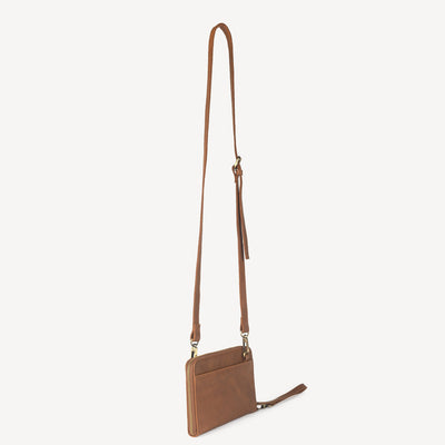 Crossbody wallet in Light Brown Leather