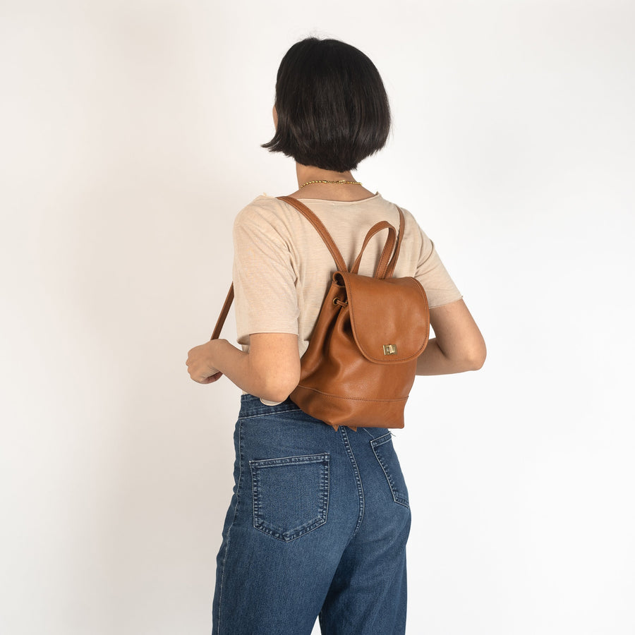 Mini Foldover Backpack in Camel Leather