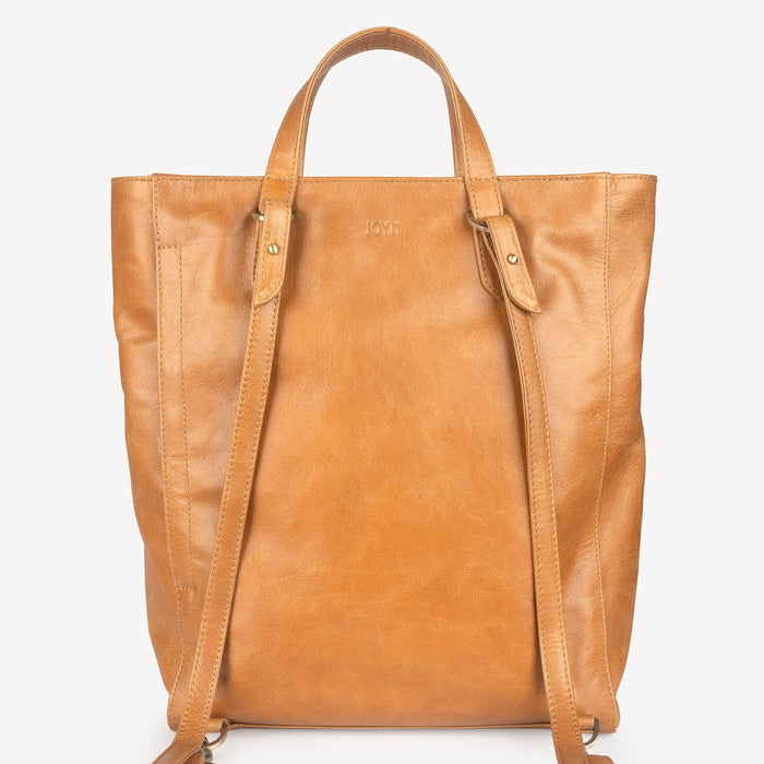 Tote Pack in Camel Leather with New Fern Print