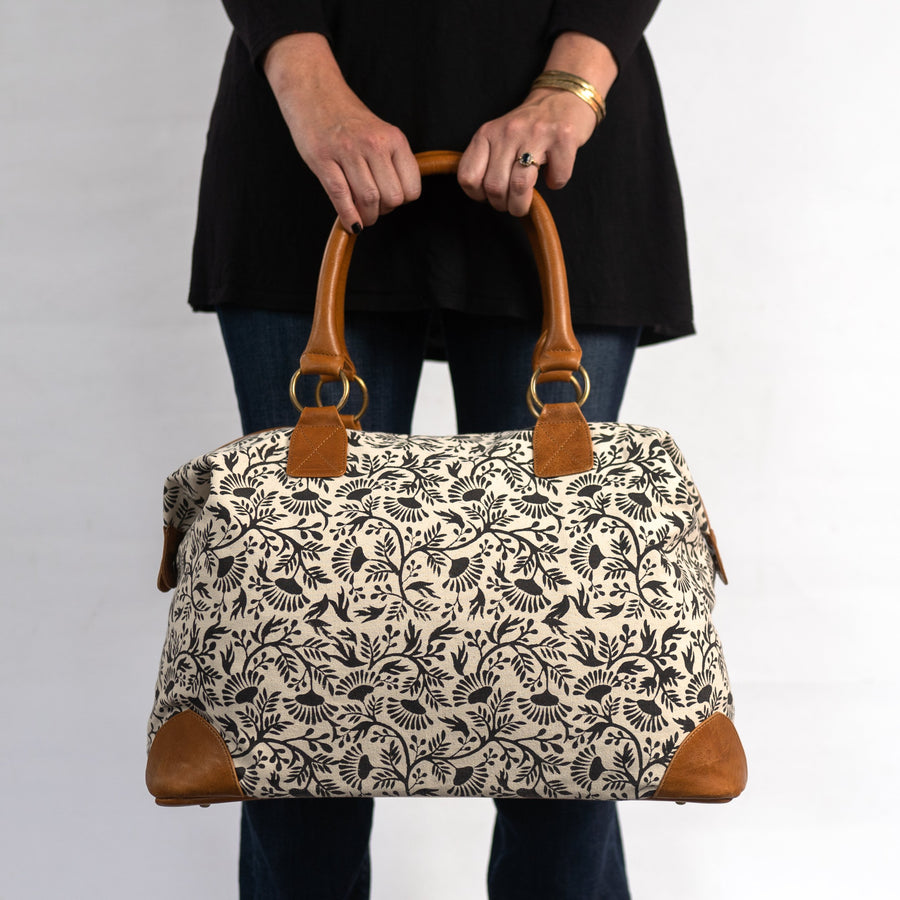 Malti Weekender with Black Floral Print