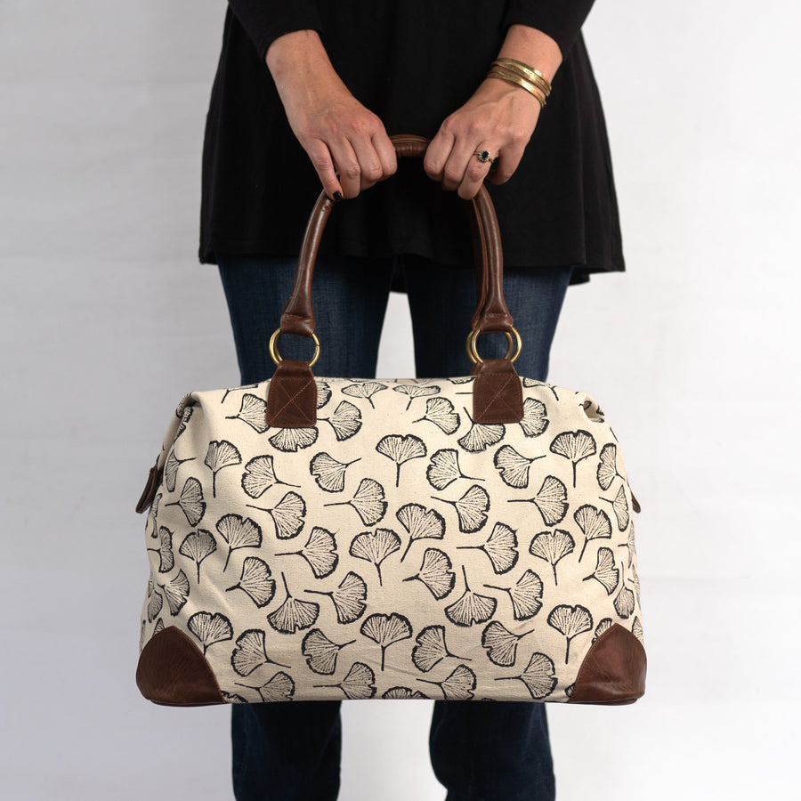 Malti Weekender with Black Gingko Print