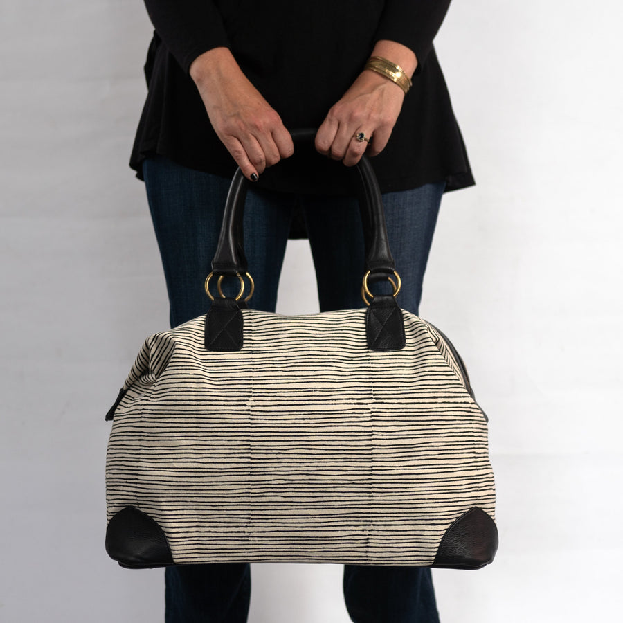 Malti Weekender with Black Pinstripe Print