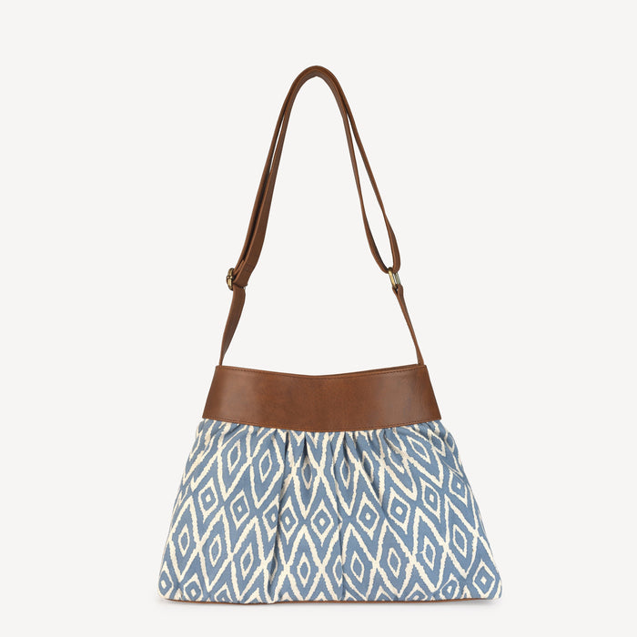 Pleated Handbag - Blue Ikat
