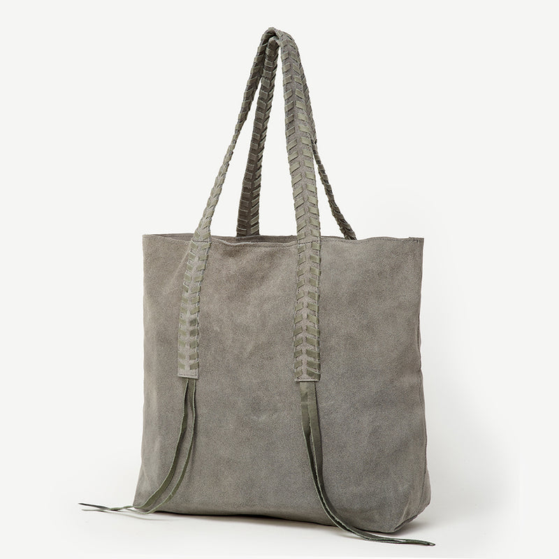 2e759684a9 Nisha Indian Lace Grey Suede Tote - JOYN
