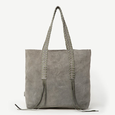 Nisha Indian Lace Grey Suede Tote