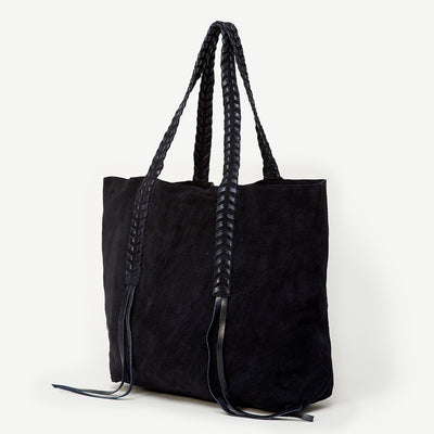 Nisha Signature Print Navy Suded Tote