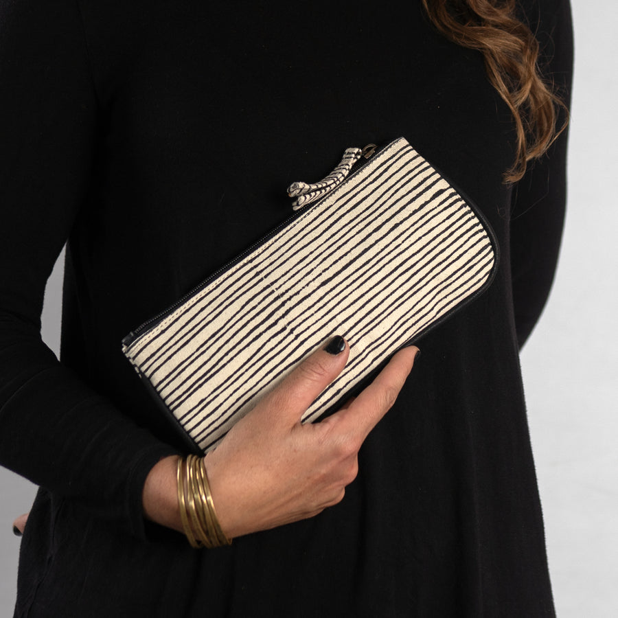 Pencil Slim Pouch in Black Pinstripe