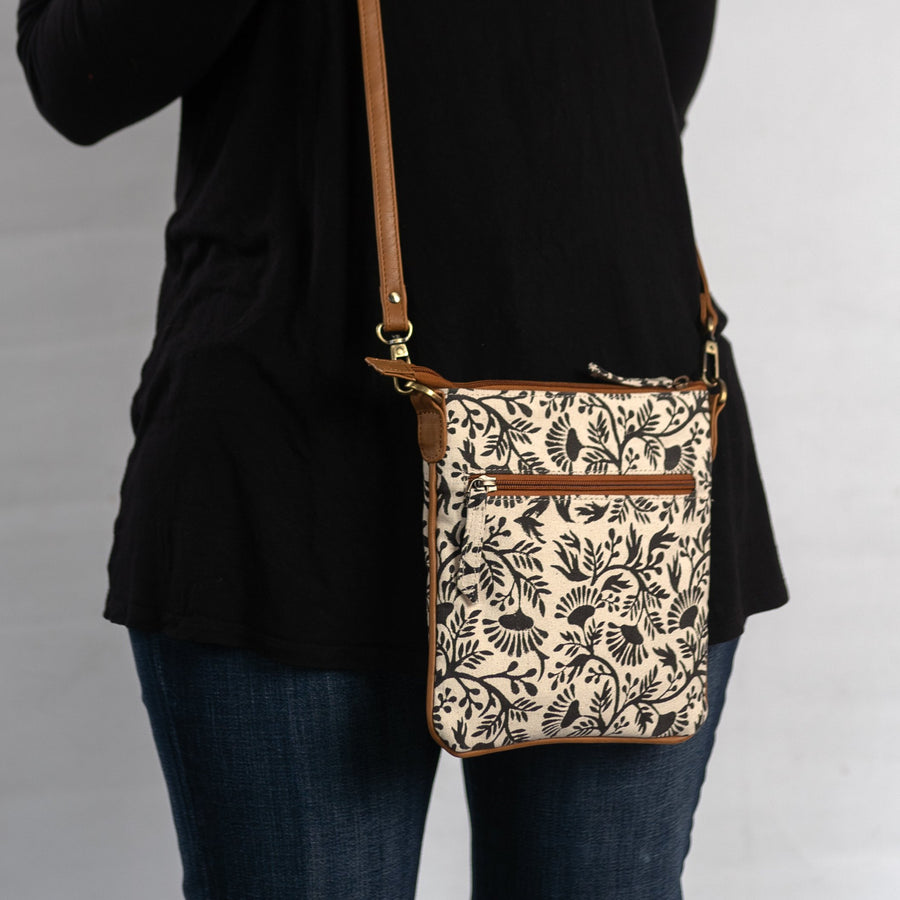 Printed Crossbody in Black Floral Print